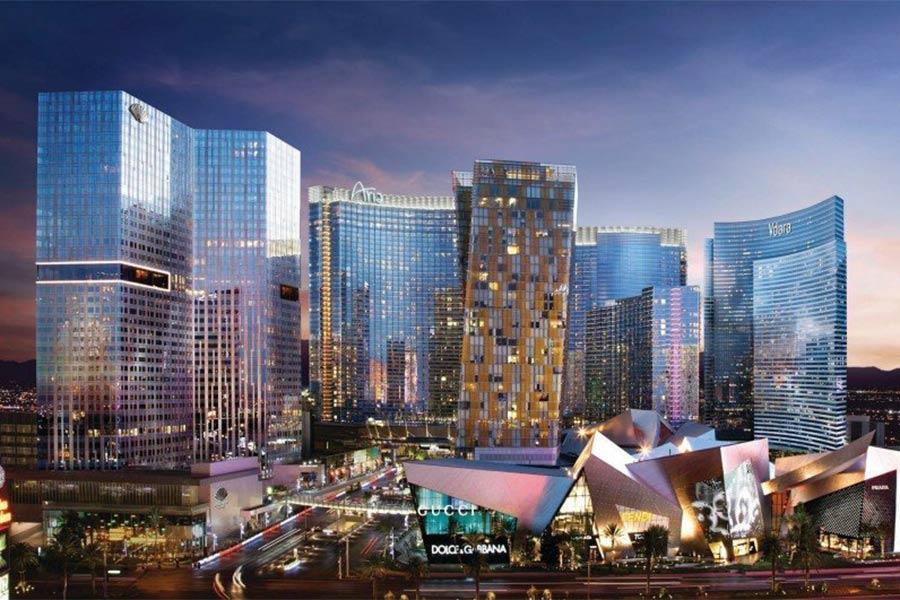 City Center Exterior Lit up at Night
